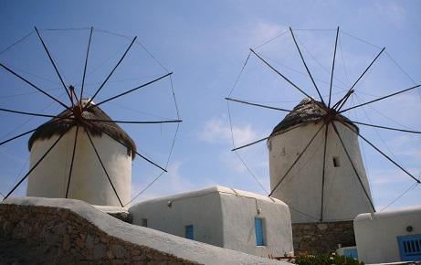 Větrné mlýny na Mykonosu