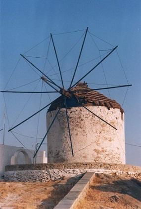 Větrný mlýn na ostrově Ios