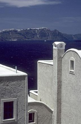 Pohled na ostrově Santorini